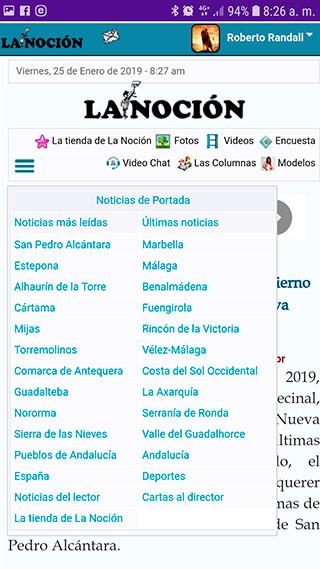 Captura pantalla App de La Noción