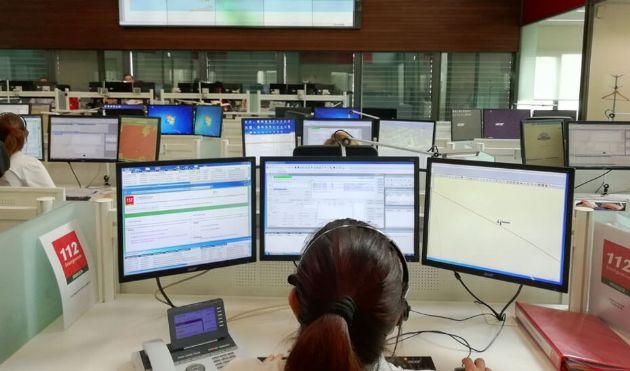 Centro operativo del Emergencias 112 Andalucía en Sevilla