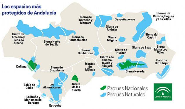 Mapa parques de Andalucía