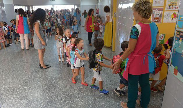 Grupos de alumnos de infantil organizados en fila para entrar en clase