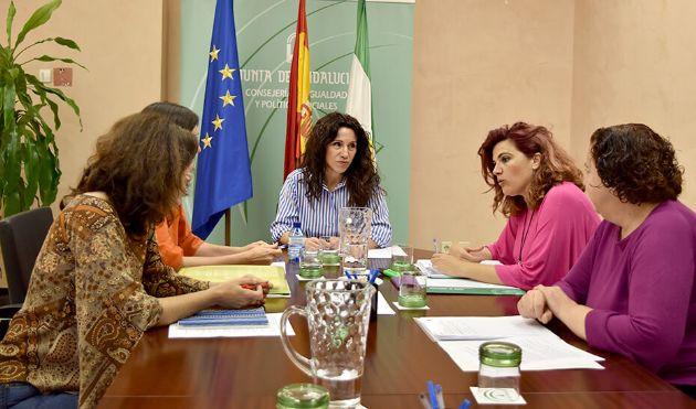 La consejera Rocío Ruiz, reunida con representantes de la Asociación Andaluza de Familias Monoparentales (Andafam)