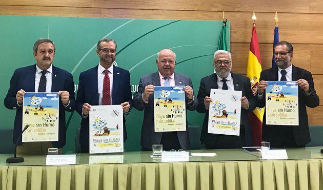 Un momento de la presentación de la iniciativa para convertir a las playas andaluzas en espacios libres de humo