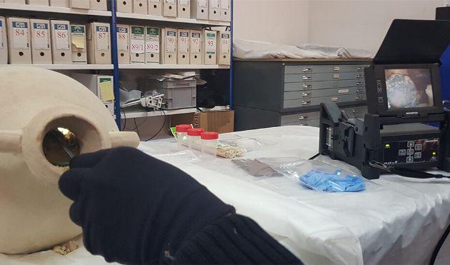 Un técnico introduce el equipo de videoendoscopia en una de las ánforas