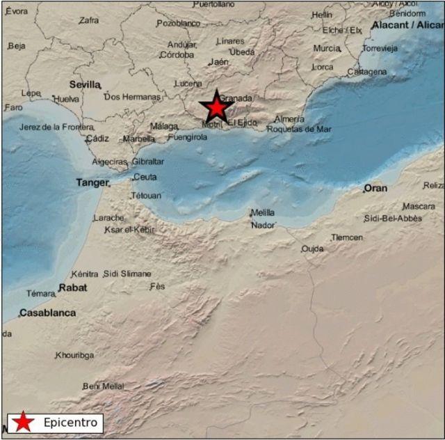 Mapa detalle del terremoto registrado en Otura (Granada)