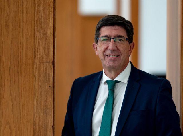 El vicepresidente de la Junta de Andalucía, Juan Marín (Cs), durante la entrevista con Europa Press