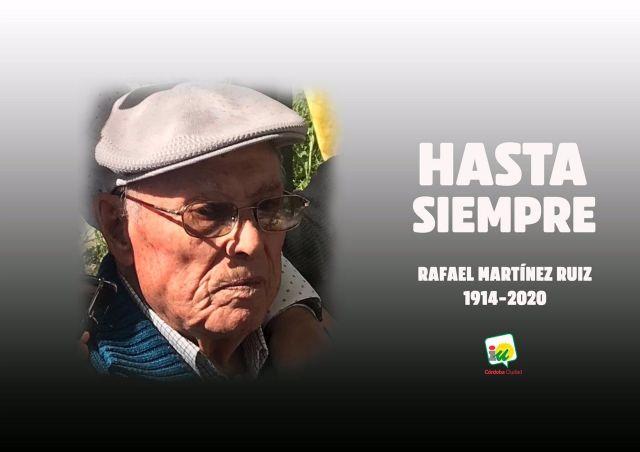 Imagen con la que IU rinde homenaje al histórico militante del PCE fallecido, Rafael Martínez Ruiz