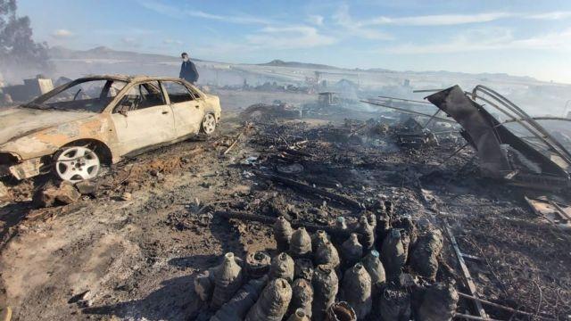 Estado en el que ha quedado el asentamiento de Níjar tras el incendio