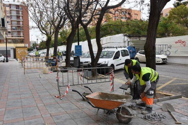 Trabajos de mejora del acerado en Paseo Santos Rein