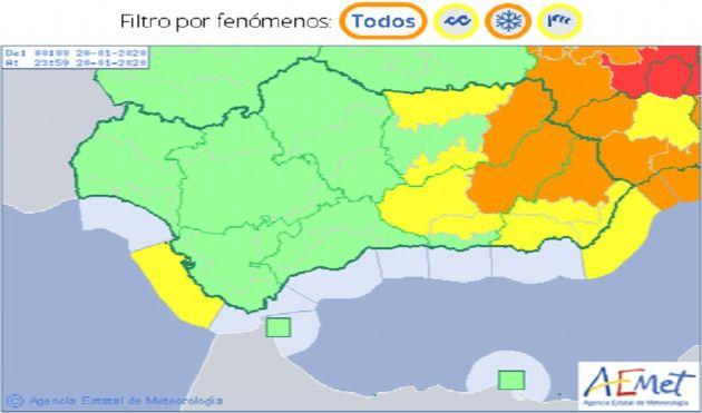 Mapa meteorológico de AEMET con los avisos activos mañana lunes