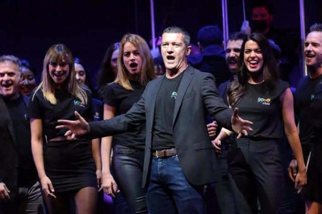 El actor malagueño Antonio Banderas, en la presentación de su nuevo espectáculo de producción propia Company, en el Teatro Soho Caixabank