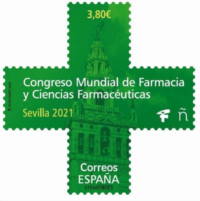 Sello de Correos dedicado al Congreso Mundial de Farmacia de Sevilla