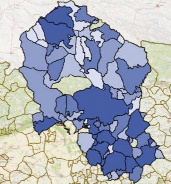 Casi todos los municipios de Córdoba (en tonos azules) han registrado casos de Covid-19 desde el inicio de la pandemia