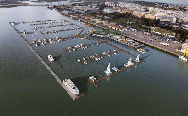 Imagen aérea del Muelle de Levante del Puerto de Huelva