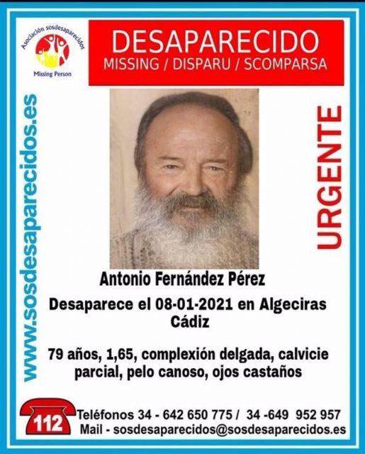 Cartel alertando de la desaparición de Antonio Fernández