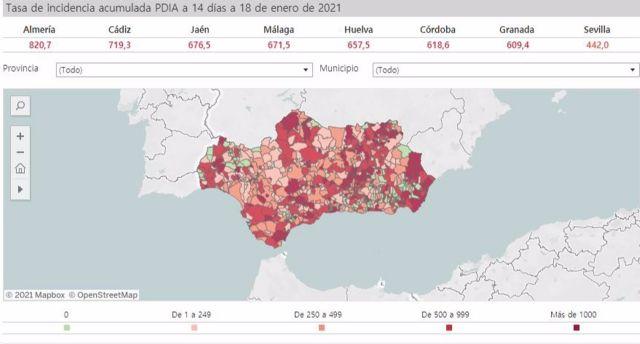 Mapa de incidencia del Covid-19 en Andalucía por municipios a 18 de enero de 2021