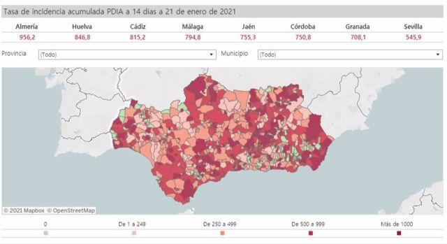 Mapa de Andalucía con la incidencia del Covid.19 por municipios a 21 de enero de 2021