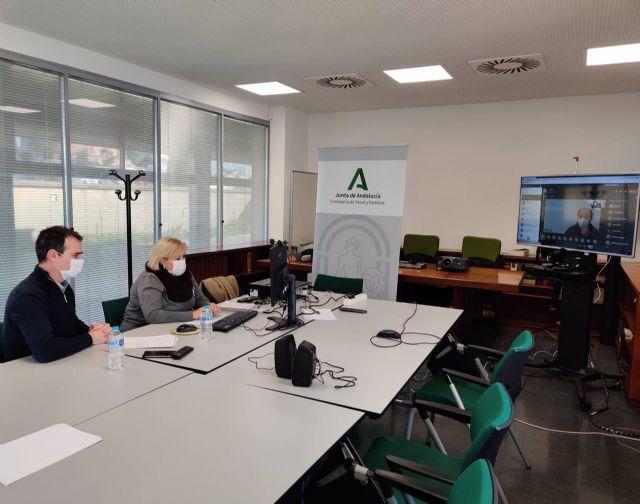 La delegada de Salud en Huelva, Manuela Caro, se reúne por videoconferencia con los alcaldes para abordar la situación