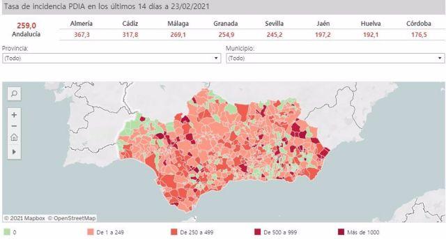 Mapa de incidencia del Covid-19 en Andalucía por municipios a 23 de febrero de 2021