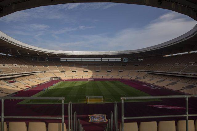 Estadio de La Cartuja donde se celebrará el encuentro oficial de la Selección Absoluta masculina de fútbol ante Alemania. En Sevilla (Andalucía, España)