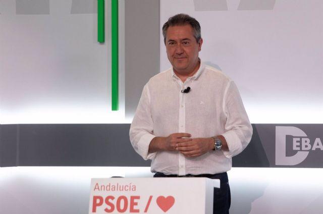 El candidato de las primarias del PSOE-A Juan Espadas, en una foto de archivo del debate a tres de la campaña. - María José López - Europa Press