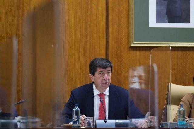 El vicepresidente de la Junta y consejero, Juan Marín, en una foto de archivo en comisión parlamentaria