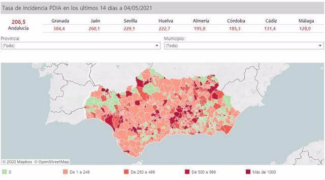 Mapa de Andalucía con nivel de incidencia de Covid-19 por municipios a 4 de mayo de 2021